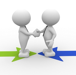 3d people - men, person shaking hands on arrows. The concept of business partners